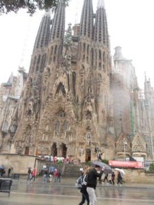 Sagrada Familia in rain
